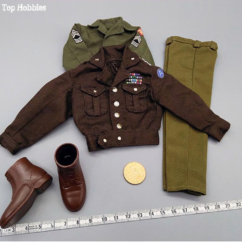 1/6 Scale Clothes suit US soldier Military General Patton Senior Officer Uniform Jacket Suit Shirt Shoes Set Fit 12 Inch Figure