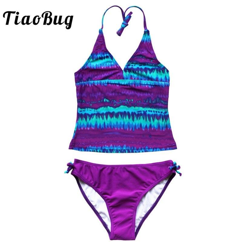 TiaoBug Kids Teens Colorful Tie-Dye Swimsuit Swimwear Girls Beachwear Bathing Suit Halter Swim Tops Shorts Tankini Bikini Set