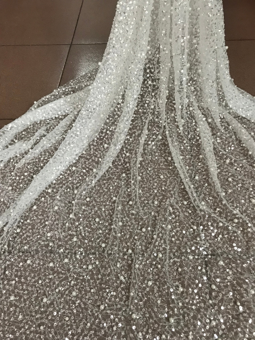 Beautiful Lace fabrics with beads Latest style embroidery african tulle lace  white sequins fabric for wedding 4aec363b2eb6