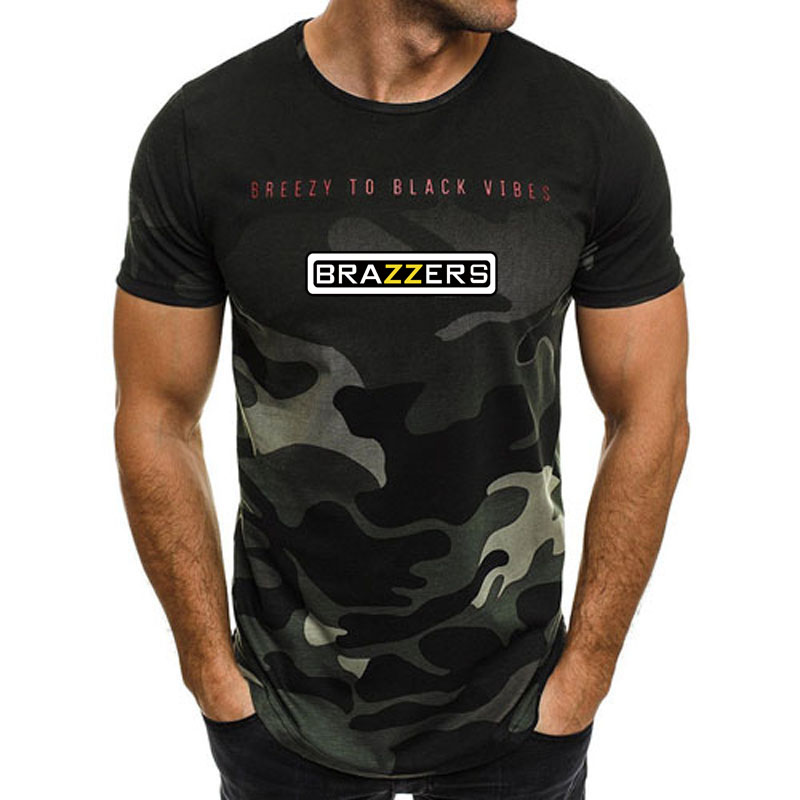 New 2018 Camouflage   T  -  shirt   designer Brazzers men's casual long   T  -  shirt   printing.