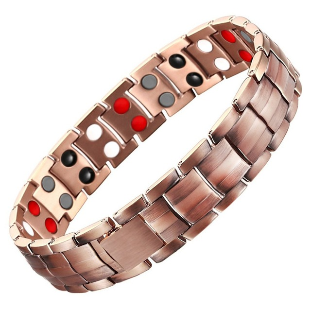 LITTLE FROG Magnetic Health Energy Power Pure Copper Scalar Quantum Care Bracelet Double Bio ElementsMen Women Bracelets Bangles