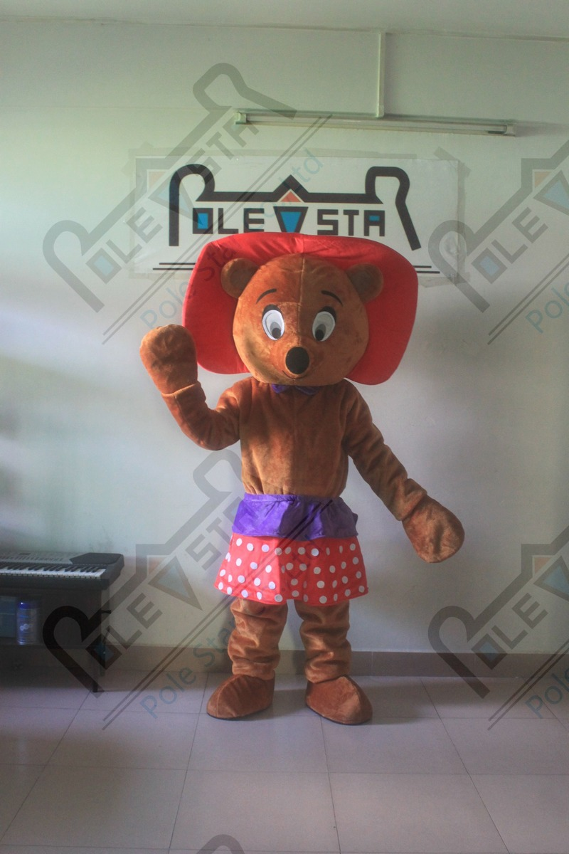 slim dance bear mascot costume hot sale cartoon beauty teddy mascot costumes plush fur quality bear costumes