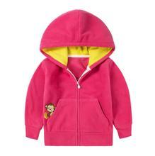 2-6Y Character Pocket Baby Girl Coat Kids Fleece Cotton Full Sleeve Cardigan Boys Winter Jacket Children Clothing KW-1637-1