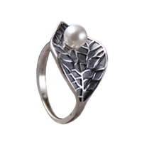 Birthday Gift S925 Sterling Silver Ring Leaf Ring Freshwater Pearl Ring For Women Lady