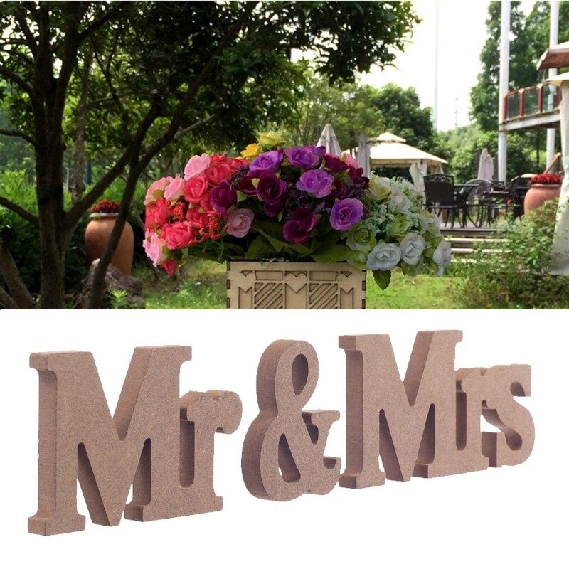 Творческий Mr & Mrs коричневый деревянные буквы знак для милая Таблица Декор DIY Decoracion BODA рукоделия