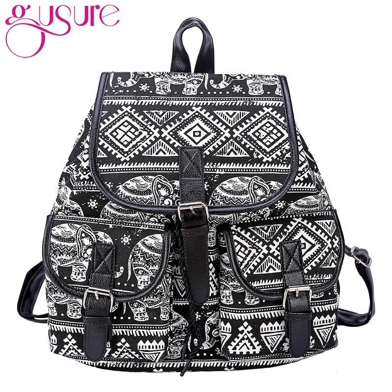 Gusure 2019 New Arrival Women Bohemian Vintage Style Geometric Printed Canvas Backpack Female Bagpack Shoulder Bags