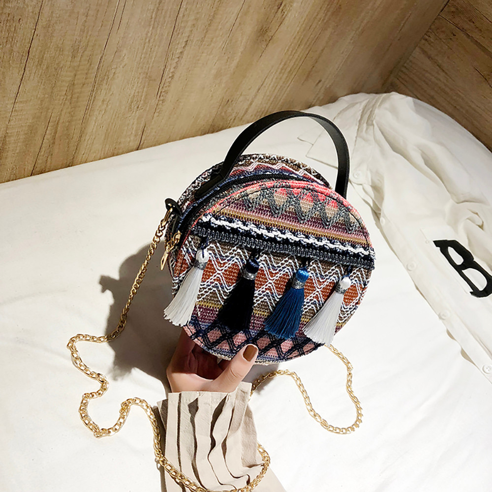 Women Tassel Chain Small Bags national wind round bag packet Lady Fashion Round Shoulder Bag Bolsos Mujer#A02 94