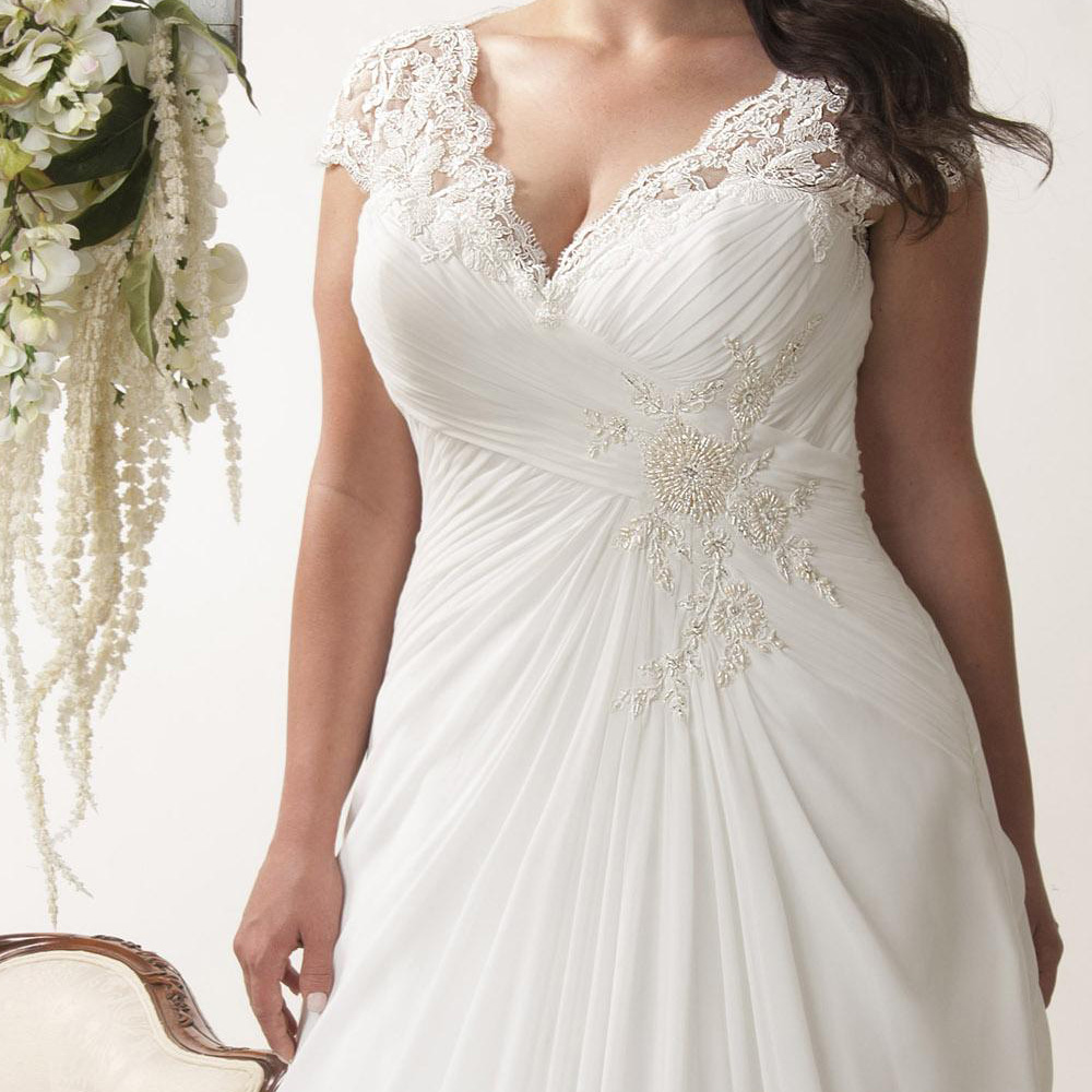 Image 3 - Elegant Plus Size Wedding Dresses V neck Cap Sleeves Robe de Mariage 2019 Sweep Train Appliqued Open Back Chiffon Bridal Gown-in Wedding Dresses from Weddings & Events
