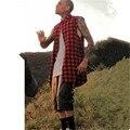 Новый Человек Мужская Летний Стиль Tyga Swag Хип-Хип-Хоп Лучших тис Футболки Красный Черный Синий Плед Сторона Zzipper Городской Одежды одежда