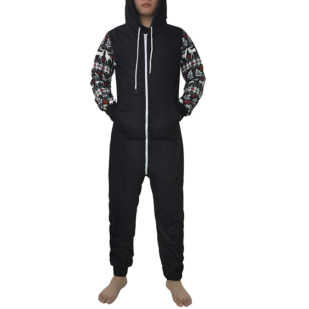 2019 Men's <font><b>Jumpsuit</b></font> Christmas Casual Splicing Print Hoodie Zipper <font><b>Jumpsuit</b></font> pants men trousers pantalon homme pantalon <font><b>hombre</b></font> image