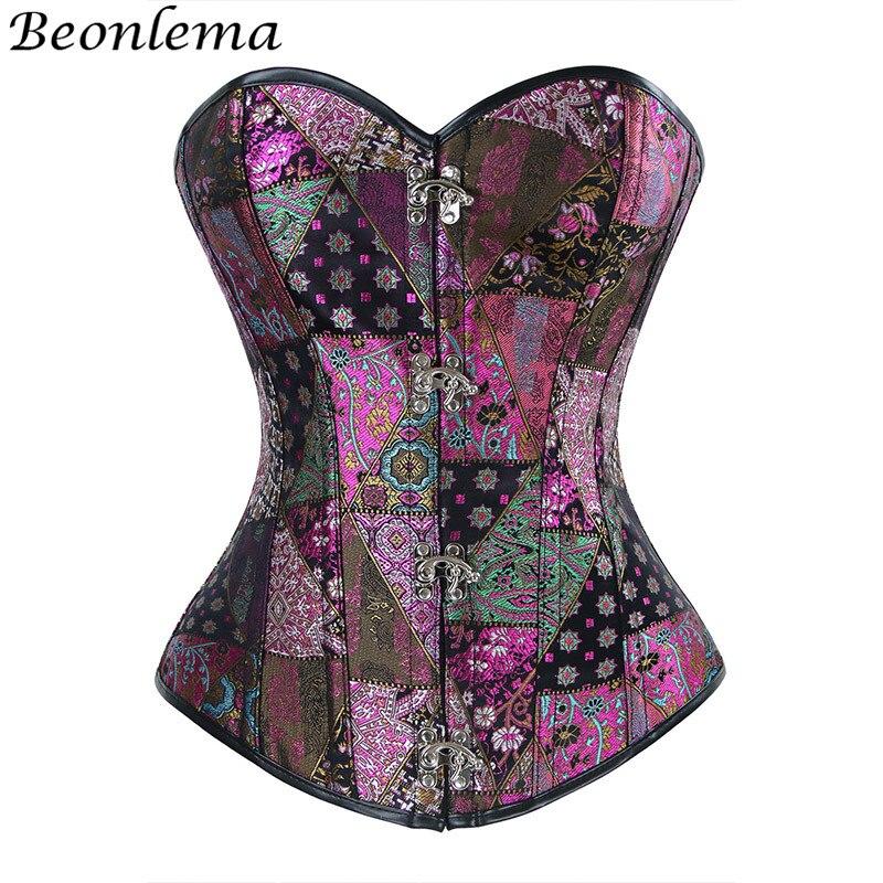 Beonlema Purple Punk Corset Embroidery Waist Korsets Women Overbust Bustier Grace Bodice Feme Lingerie Top Vintage Clothing