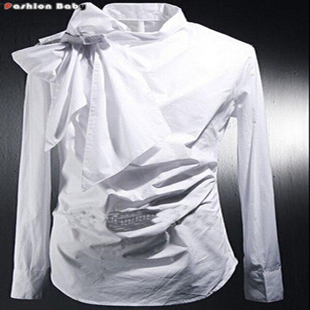 Старинные Смокинг Рубашки Платья Мужская Мода Бантом С Длинным Рукавом Дизайнерский Бренд Белый Черный Рубашка Сорочка Homme 2016 Новый