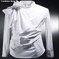 Vintage Smoking Camisas de Vestir Para Hombre de Moda Bowknot de Manga Larga Diseñador de la Marca Blanco Negro Camisa Chemise Homme 2016 Nuevo
