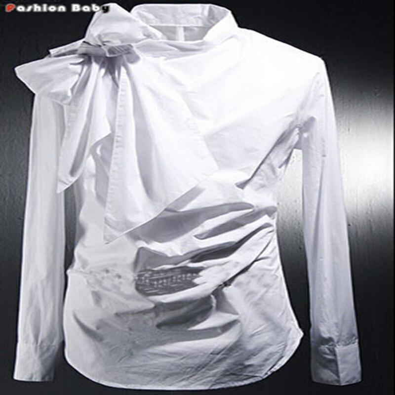 Vintage tuxedo dress shirts mens fashion bowknot long for Turkey mens designer shirts
