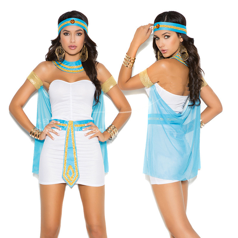 New Halloween Party Uniform Queen's Game Uniform Cleopatra Ancient Egyptian Nightclub Carnival Night Gods Cosplay Sexy White New