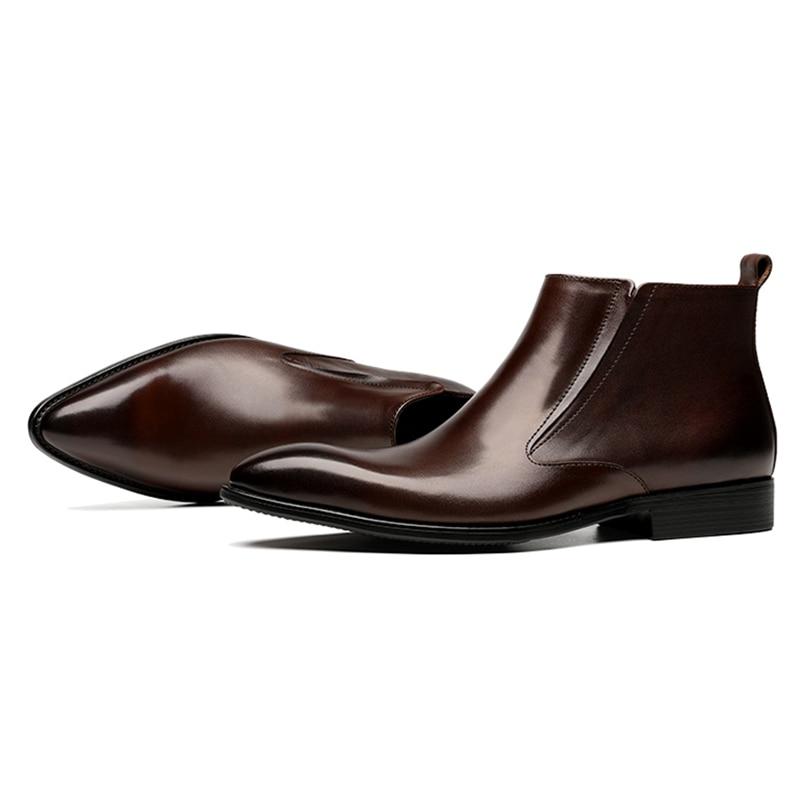 Negro Puntiagudo Hombres Js213 Chelsea Botas Boda 2019 Genuino Vaquero Chukka Botines Los Pie Italiano Martin Vestido Zapatos marrón Hombre Cuero De Formal Del Dedo ZZIBqS1