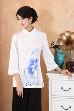 Chinese National Tops Women Cotton  Blouse Summer T-shirt Size S-3XL