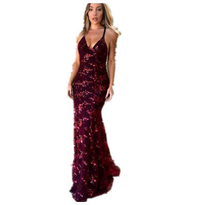 Liebsten Pailletten Sommer Kleid Frauen 2019 Sexy Backless Maxi Party Kleid Vintage Schlank Mermaid Desses Weibliche vestidos RQ553