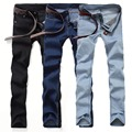 2016 Men's Jeans spring and autumn fashion Slim Korean trend bleach feet all-match comfort simple solid color denim trousers