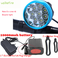 Walkfire New 8 x XML T6 LED Bike Lamp Outdoor Bicycle Lights Cycling Front Light Bike Led Luces bBicicletas+18650 Battery Pack