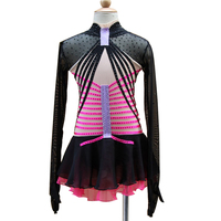 Customization Ice Figure Skating Dress Vogue New Brand Black and Red Competition Figure Skating Dresses Custom