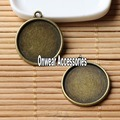 (20 pieces/lot) antique bronze vintage round brass cameo cabochon base settings 20mm diy accessories