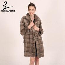 FURSARCAR Long Winter Warm Women Fur Coats 2017 Natural Real Fur Female Coats Luxury Full Pelt Mink Coats With Fur Collar C0486