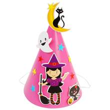 DIY Cartoon Creative Halloween Paper Cap Hat Ornament Decoration Favors Supplies Props for Kids Children (Pink Witch)(China)