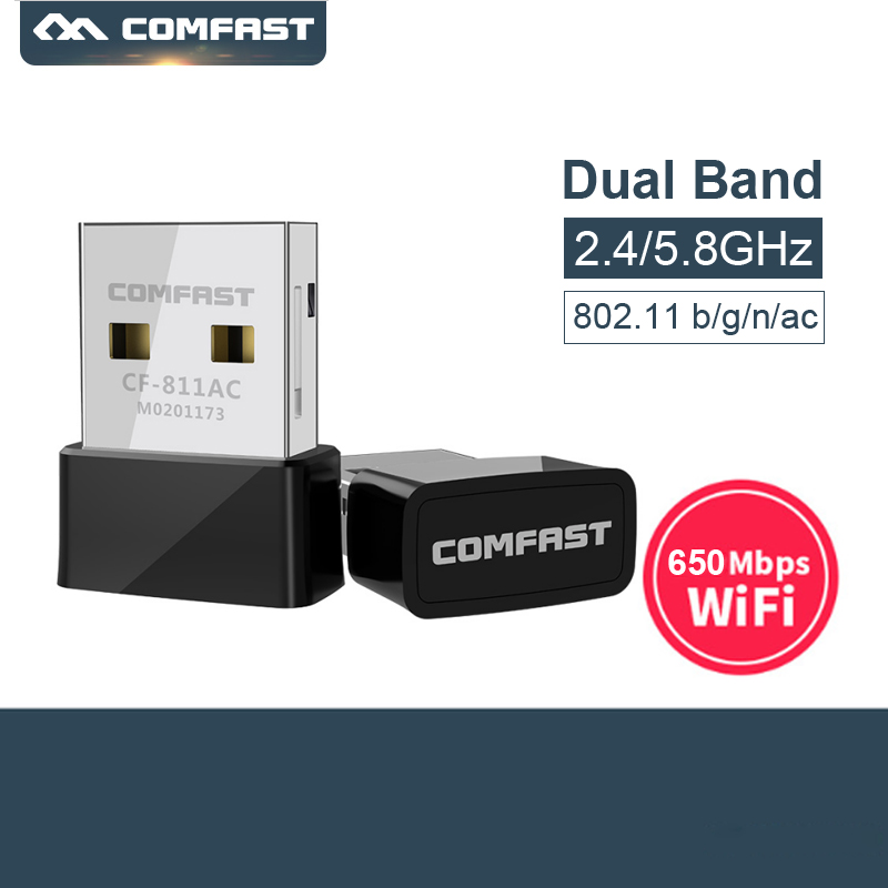 Comfast CF 811AC 650Mbps 5GHz Dual Band USB Wireless Wifi Adapter USB Ethernet wifi dongle for Desktop & Laptop-in Network Cards from Computer & Office