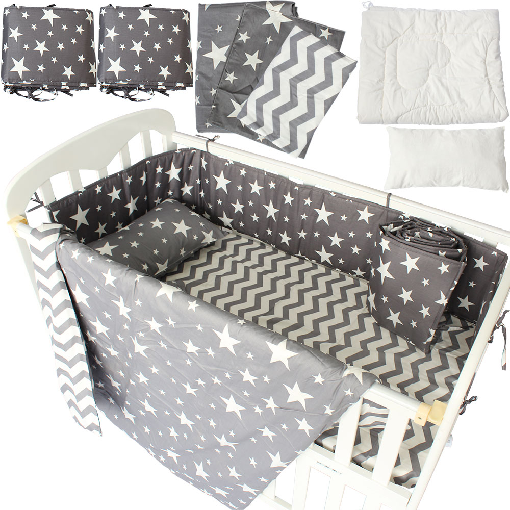 Baby bed sheet pattern - 7pcs Baby Bedding Set Gray Star Horse Crown Pattern Bed Linen For Newborns Baby Sheet Bumpers