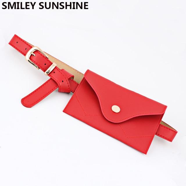 SMILEY SUNSHIEN brand women waist pack bag fashion fanny pack money belt bag high quality leather pouch female hip bag pochete