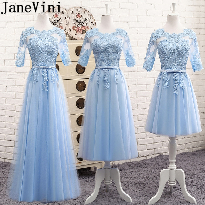 JaneVini 3 Styles Blue Long Lace   Bridesmaid     Dress   With Half Sleeves Cheap Women Wedding Party   Dress   Tulle A Line Godmother Gowns