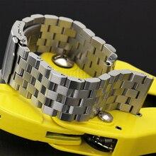 20/22 мм Нержавеющая сталь ремешок серебро/черный браслет Твердые Ссылки застежка с безопасностью для Для женщин Для мужчин наручные часы