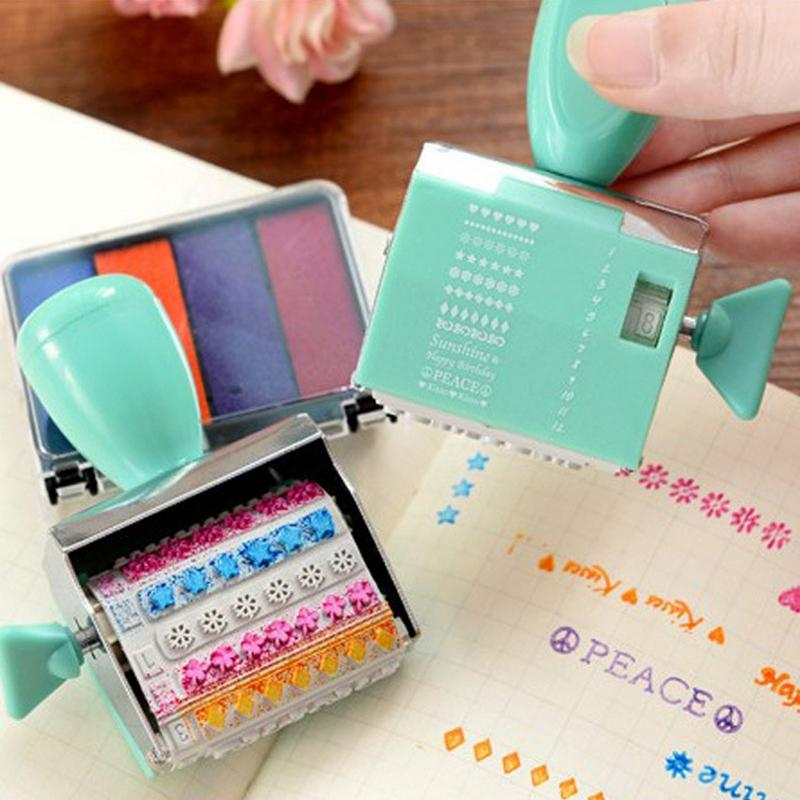 Roller stamps Cartoon English letters seal Incentive seal stamp toys japanese korea stationery portable mini roller secrecy stamp garbled seal graffiti seal teacher secrecy stamp
