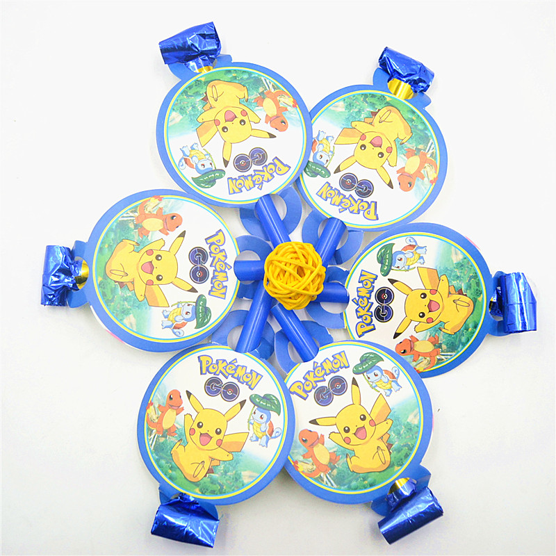 6Pcs Pikachu Party Supplies Funny Whistles Childrens Birthday Party Blowout Baby Birthday Party Supplies Pikachu Party Gifts