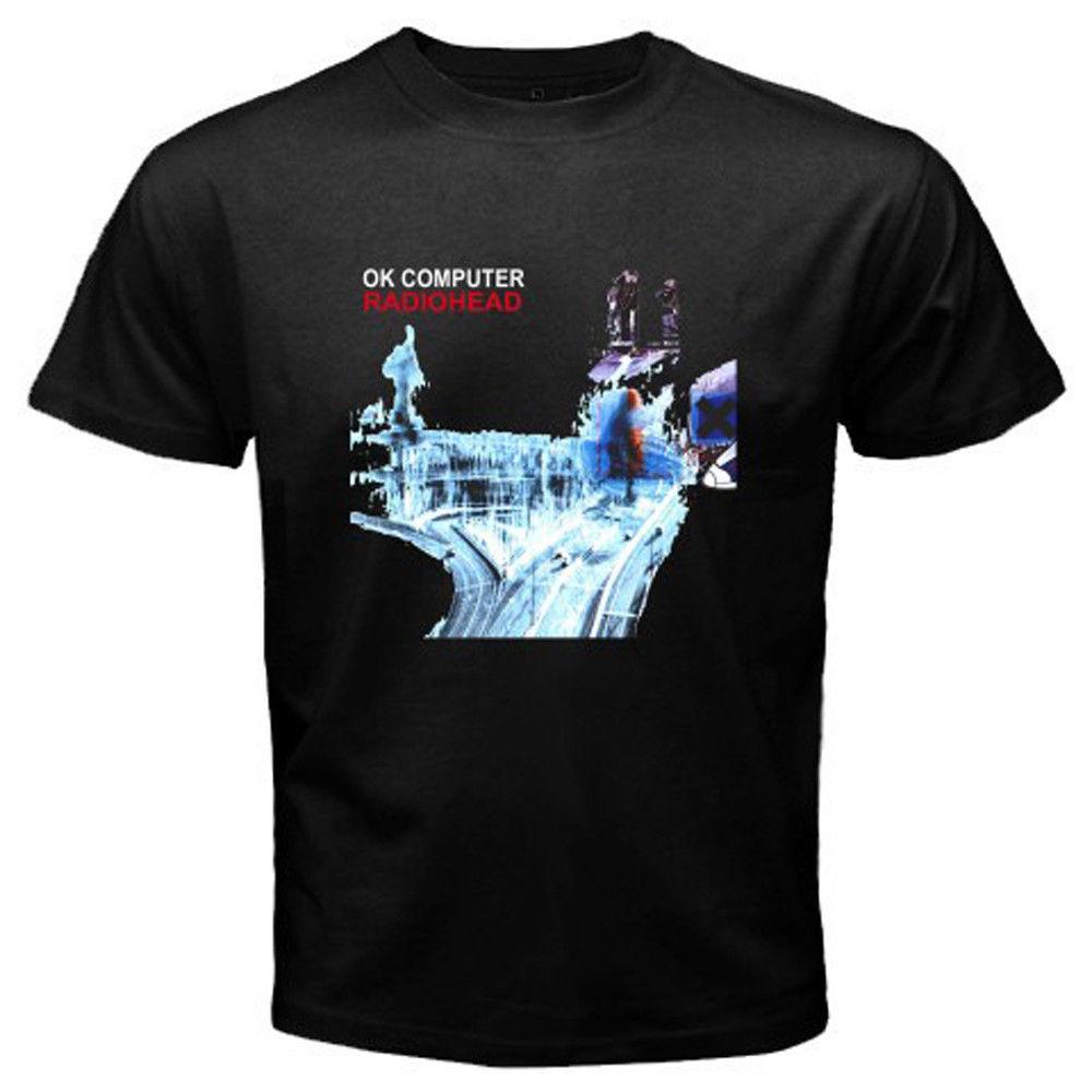 New RADIOHEAD *OK COMPUTER Rock Band Men's White Black T-Shirt Size S To 2XL Short Sleeve Cheap Sale Cotton T Shirt
