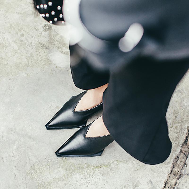2019 neue mode high heel frauen marke pumpen keile dame einfarbig karree erhöht schuhe runway modell zeigen faul schuhe L51-in Damenpumps aus Schuhe bei  Gruppe 3