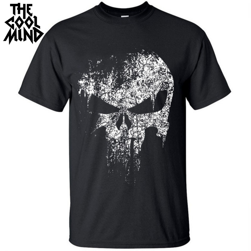 Men T-Shirt COOLMIND Punish-Printed Street-Style Casual 100%Cotton Short-Sleeve Comfortable