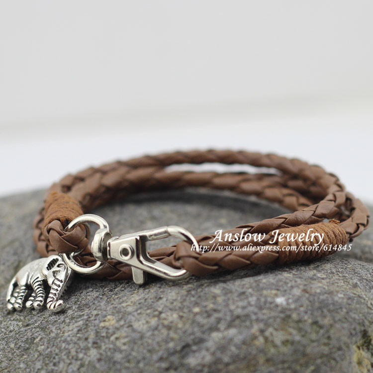 LOW0173LB Fashion Jewelry PU Leather Elephant Animal Bracelets & Bangles Women Kids Men Sister Family Jewelry Free Shipping