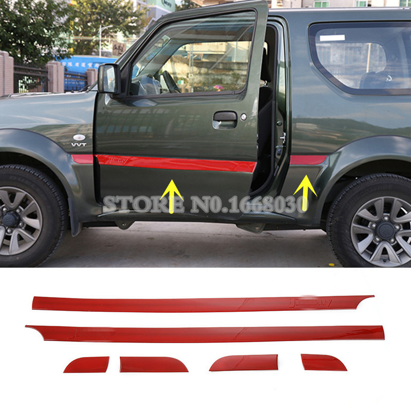 Red ABS Side Door Body Molding Cover Trim For Suzuki Jimny 2007-2015  6pcs body side molding trim overlay abs for bmw x5 f15 2014 2015