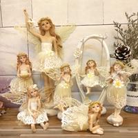 Смола Ангел скульптура красивая девушка любовь музыка играть вилион цветок фея гареден фигурки свадебный подарок украшения дома