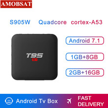 T95 S1 Google Voice Control Smart Android 7.1 TV Box 2GB Ram 16GB Rom Amlogic S905w 1080p 4K H.265 2.4GHz Wifi IPTV Box цена и фото
