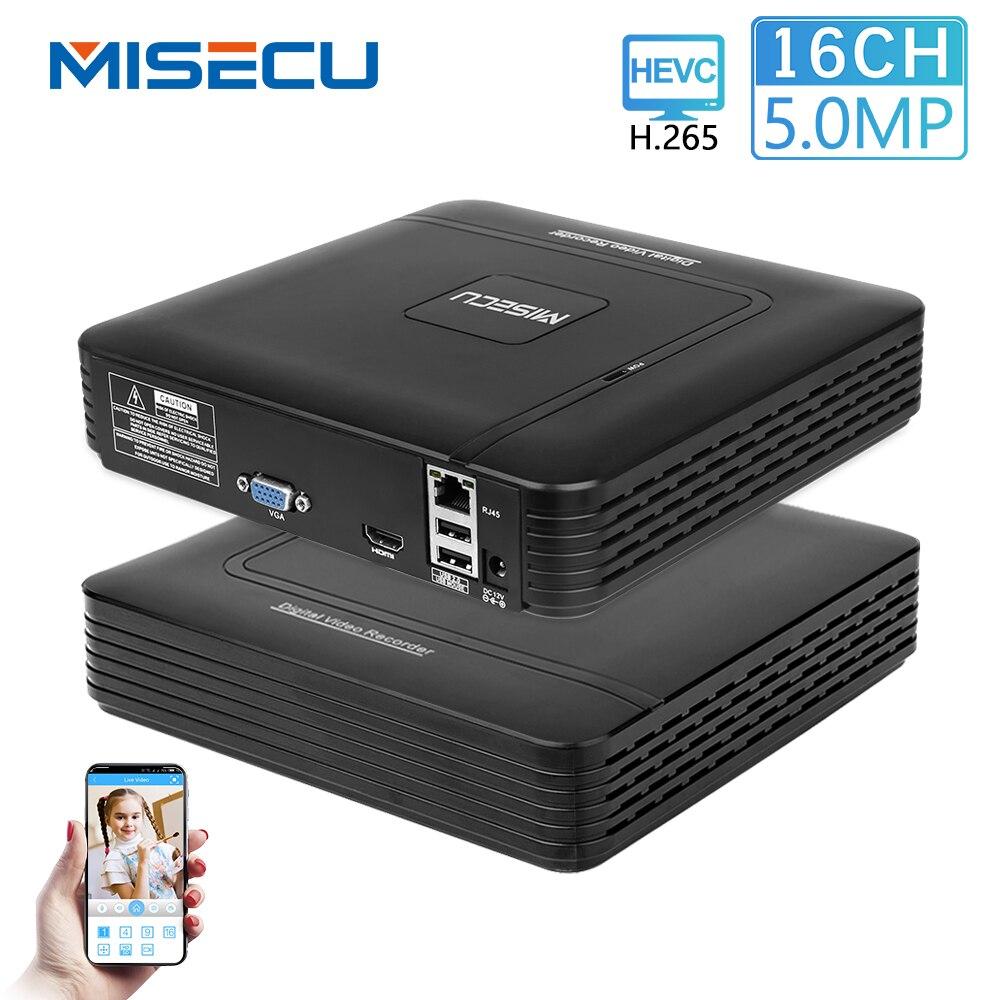 MISECU H.265 Mini NVR Full HD real P2P 16CH/8CH 5MP 16CH 1080P Gravador de Vídeo Detecção de Movimento ONVIF para o Sistema de Câmera De Segurança IP