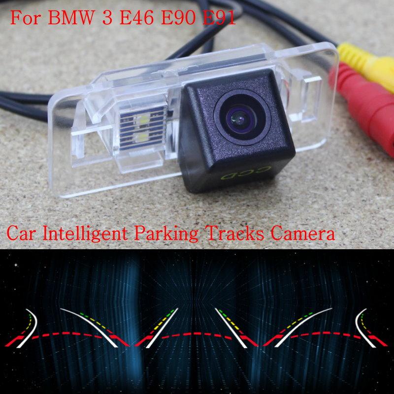 Lyudmila Car Intelligent Parking Tracks Camera FOR BMW 3 E46 E90 E91 / Back up Reverse Camera / Rear View Camera / HD CCD for dacia duster 2010 2014 car intelligent parking tracks camera hd back up reverse camera rear view camera
