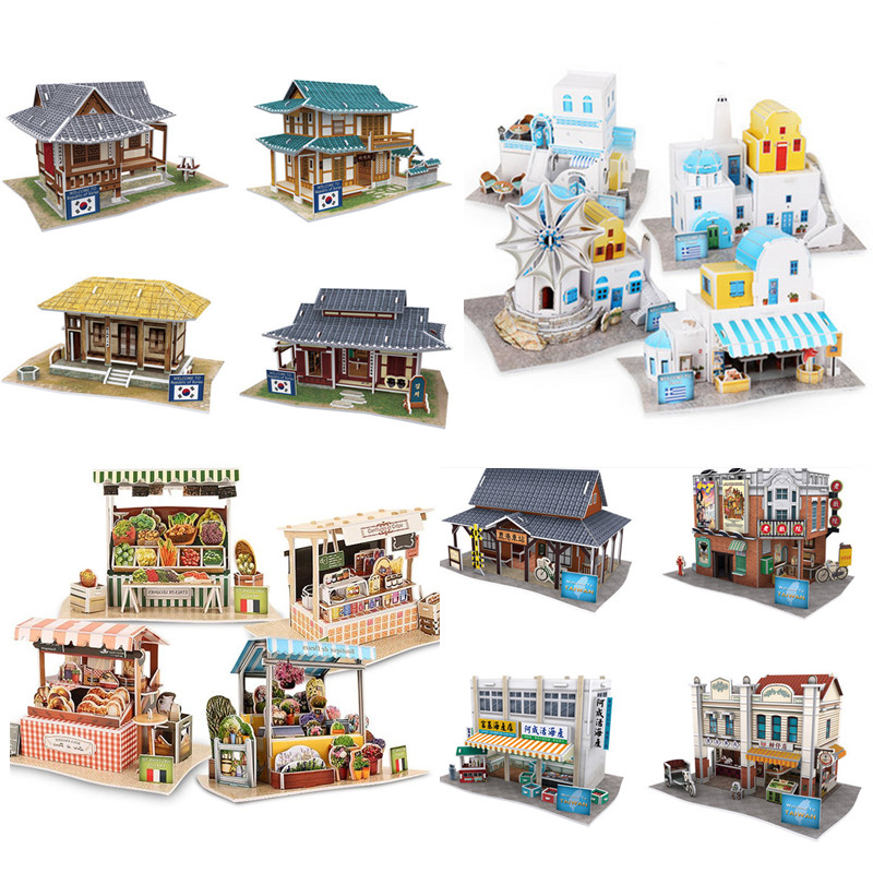 CubicFun Cardboard Puzzle Model Toy DIY 3D Traditional Houses Puzzles Assembly Building Kits Learning Toys For Children diy handmade craft tastic cardboard sculpture kit cardboard snow snowflake building blocks early educational learning toys
