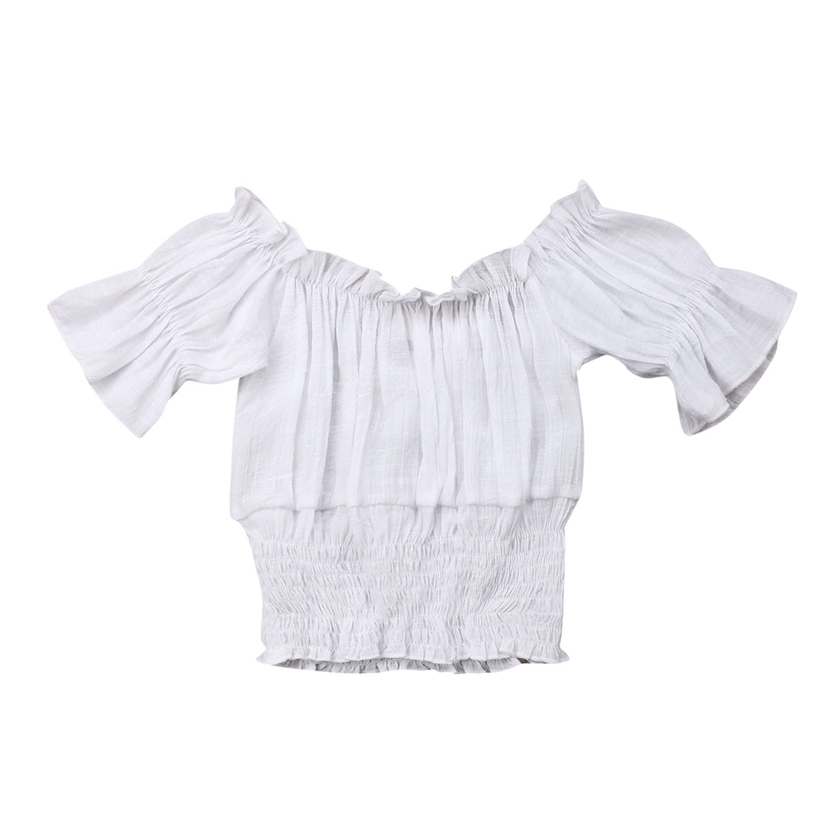 Blouse Off-Shoulder T-Shirt Waist-Tops Girls Clothes Toddler Baby-Girl Kids Fashion Flare