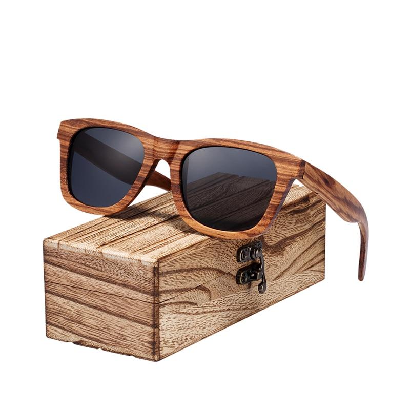 BARCUR Polarized Zebra Wood Sunglasses Men Handmade Sun glasses Wood Eyewear