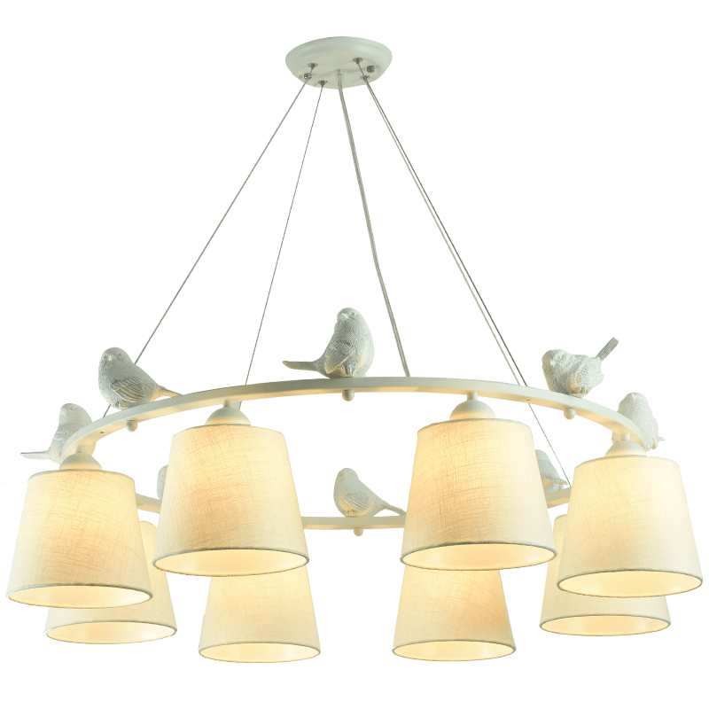 AIBIOU Birds Lustre LED Chandelier With Cloth Lampshades For Living Room E27 Dining Chandeliers Fabric Kitchen Lightings