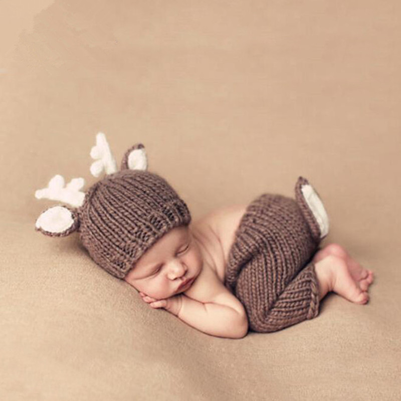Newborn Photography Props Accessories Knitted Infant Photography Costume Deer Shape Hand Crochet Hat+Pants Set Baby Photo Props