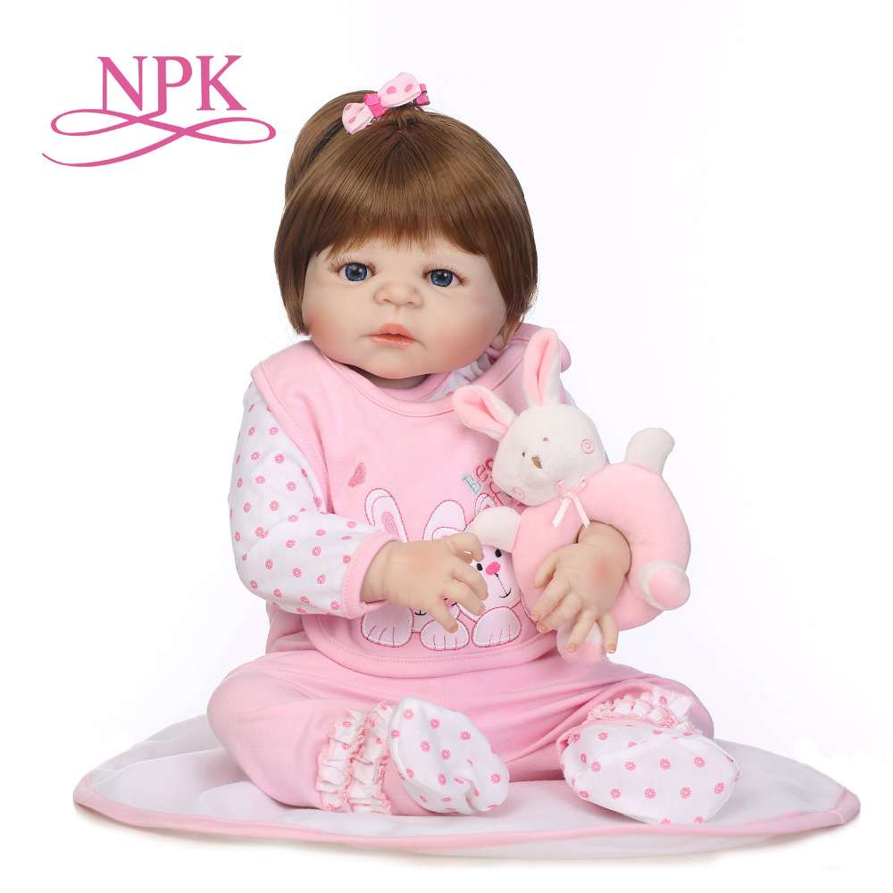 NPK 56CM full silicone bebe bonecas lifelike baby girl with lovely stress kids brithday gift silicone